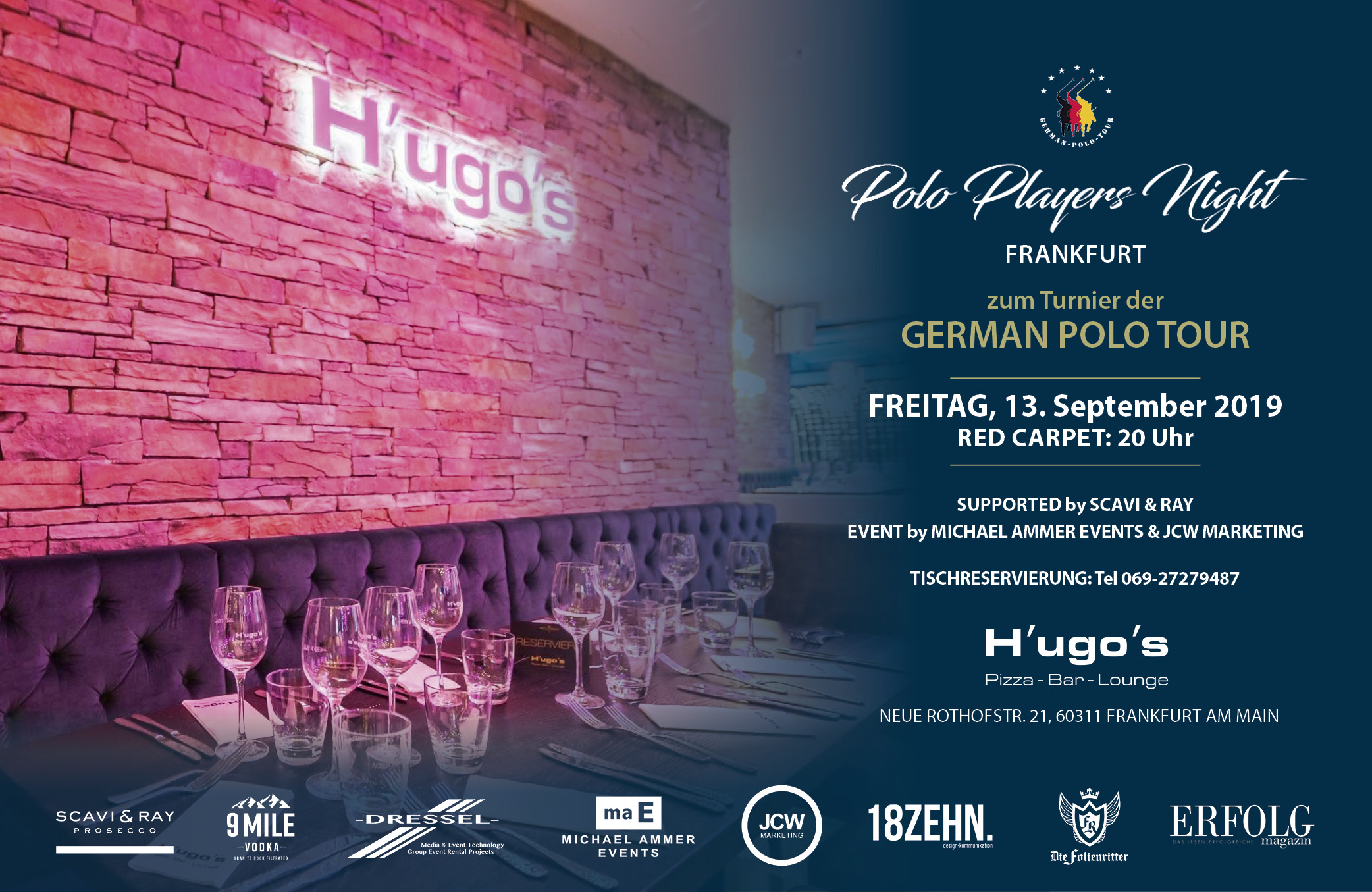 FLYER - quer 1 - POLO PLAYERS NIGHT - FRANKFURT - HUGOS - 13.09.2019